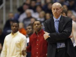 Musketeers head coach Chris Mack watches the game against the Oral Roberts Golden Eagles during the first half at the Cintas Center.