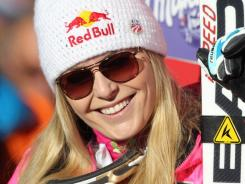 In this Dec. 7 photo, Lindsey Vonn reacts after winning the women's World Cup super-G ski competition in Beaver Creek, Colo.