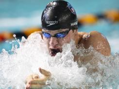 Brendan Hansen swims in the 100 breaststroke at the Duel in the Pool in the Georgia Tech Aquatics Center on Saturday.