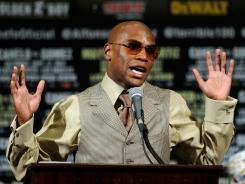 Floyd Mayweather Jr., here during his post-fight news conference after his Sept. 17 knockout of Victor Ortiz, also must complete 100 hours of community service.