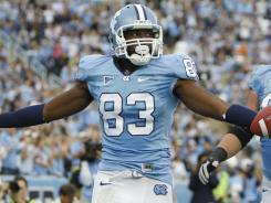 Dwight Jones leads North Carolina with 79 catches for 1,119 yards and 11 touchdowns this season.