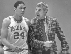 Indiana University coach Bob Knight chastizes player Daryl Thomas for his play in Thursday night's Big Ten game with Wisconsin in Bloomington, Ind., Feb. 10, 1984.