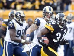 The 116 rushing yards from RB Rashard Mendenhall fueled the Steelers win Saturday vs. the Rams.