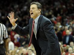 Louisville Cardinals head coach Rick Pitino reacts during the second half against the Western Kentucky Hilltoppers at the KFC Yum! Center. Louisville defeated Western Kentucky 70-60.