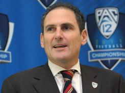 "Pac-12 Commissioner Larry Scott says the new arrangement with the Big Ten ""is not a political statement."""