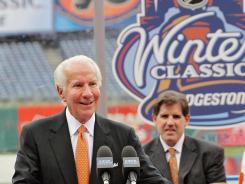 Chairman Ed Snider of the Philadelphia Flyers speaks at the NHL 2012 Winter Classic Press Conference at Citizens Bank Park.