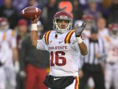 Cyclones quarterback Jared Barnett drops back to pass during a 30-23 loss to the Kansas State Wildcats at Bill Snyder Family Stadium.
