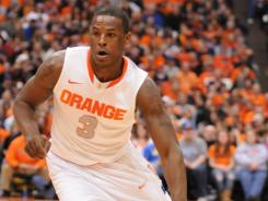 Syracuse guard Dion Waiters (3) dribbles against Seton Hall during the first half at the Carrier Dome in Syracuse, N.Y. He finished with 15 points and three steals in 19 minutes in the Orange's win.