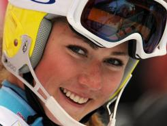 Mikaela Shiffrin of Vail-Eagle, Colo., celebrates her third-place finish after completing a  World Cup slalom in Lienz, Austria, on Thursday.
