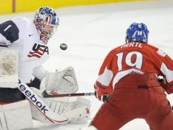 Czech Republic's Tomas Hertl, right, scores on USA goalie Jack Campbell during the second period on Friday.