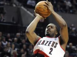 The Trail Blazers' Wesley Matthews scores one of his five second-half three-pointers in Thursday night's win over the Nuggets.