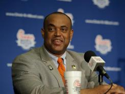 Virginia Cavaliers head coach Mike London speaks with the media at the Chick-fil-A Bowl-Coaches Press Conference.