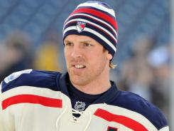 Brad Richards of the New York Rangers looks on during practice Sunday at Philadelphia's Citizens Bank Park,