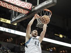 Kevin Love led all players with 25 points and 17 rebounds as the Timberwolves snapped an 18-game losing streak that started last season.