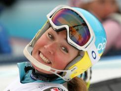 Mikaela Shiffrin  takes third place during the Audi FIS Alpine Ski World Cup women's slalom  in Lienz, Austria.