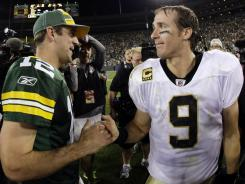 Aaron Rodgers and Drew Brees (9) could be fighting for MVP votes, not to mention a Super Bowl XLVI title.