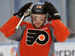 Philadelphia's Claude Giroux is second in the NHL scoring race with 45 points.