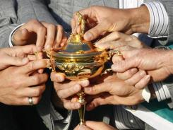 Europe team members hold the trophy after winning the 2010 Ryder Cup. The Cup is up for grabs again in September at Medinah outside Chicago.