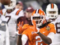 Clemson freshman Sammy Watkins catches a pass in the ACC title game against Virginia Tech. He had 1,153 receiving yards this season.