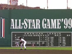 After decades without advertisements, the Green Monster was decorated during the 1999 season for the All-Star Game held that July at Fenway Park.