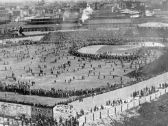 Pre-Fenway Park days: The Boston Pilgrims and the Pittsburgh Pirates played the first World Series at the Huntington Avenue Grounds in Boston in 1903. Boston won.