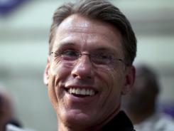 This July 25, 2011 file photo shows Rick Spielman speaking to reporters at a news conference at Vikings' training facility, in Eden Prairie, Minn. The Vikings have promoted Spielman to general manager.