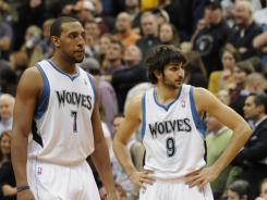 Minnesota Timberwolves rookie Ricky Rubio, right, made the NBA All-Star ballot, but fellow rookie Derrick Williams (1) did not.