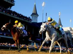 Hansen (right), ridden by Ramon Dominguez, won the Breeders' Cup Juvenile at Churchill Downs in November, making him an early favorite for the 2012 Kentucky Derby.
