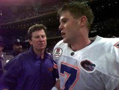 Florida coach Steve Spurrier, left, and quarterback Danny Wuerffel celebrate after the Gators beat Florida State to win the national title 15 years ago in the Sugar Bowl.