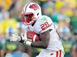 Wisconsin Badgers running back Montee Ball runs the ball against the Oregon Ducks during the second half during the 2012 Rose Bowl.