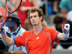 Andy Murray cruised into the semifinals at the Brisbane International with a straight-sets victory over doubles partner Marcos Baghdatis.