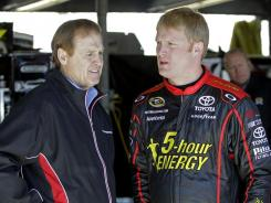 Rusty Wallace, left, is suspending operations of the Nationwide Series team driven by his son Steve, right.