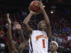 Laurin Mincy (1) scored 17 points as Maryland rallied past Georgia Tech to remain undefeated.