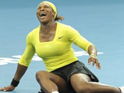 Serena Williams of the USA injured her ankle in Brisbane.