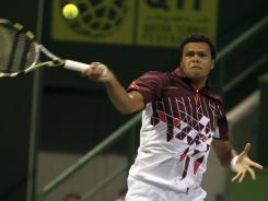 Jo-Wilfried Tsonga of France lines up a forehand during his victory Saturday against countryman Gael Monfils.