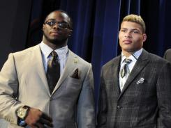 Trent Richardson, left, and Tyrann Mathieu pose after the College Football Awards show at Lake Buena Vista, Fla., in December.
