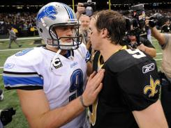 Saints QB Drew Brees acknowledged Saturday that his team could see Matthew Stafford, left, and the Lions in future playoff  meetings.