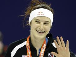 American short-track speedskater Katherine Reutter, here after placing in a December event, had won six World Cup medals before her season was cut short by injuries.