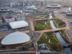 A file picture taken on December 5, 2011, shows the  2012 Olympic Games venues including the Olympic Stadium and the Velodrome.