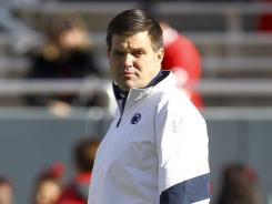 Penn State Nittany Lions quarterback coach Jay Paterno before the 2012 Ticket City Bowl game against the Houston Cougars at Cotton Bowl Stadium. That was Paterno's last game as a coach at Penn State.