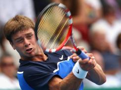 Ryan Harrison of the USA raps a forehand during his victory Tuesday against Sam Querrey of the USA.