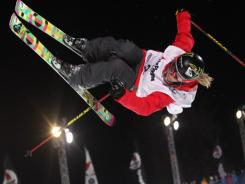Sarah Burke of Canada takes first place during the FIS Freestyle World Cup  Women's Halfpipe on March 20, 2011 in La Plagne, France.
