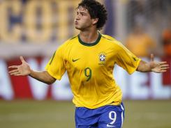 Brazil celebrates his goal against the U.S. in the first half of a friendly match at the New Meadowlands on Aug. 10, 2010 in East Rutherford, New Jersey.