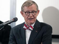 Ohio State university president E. Gordon Gee takes questions from the media during a press conference last year.