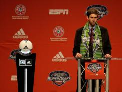 Defender Andrew Duran talks to the media after being chosen by the Sounders on Thursday at the Kansas City Convention Center in Kansas City, Mo.