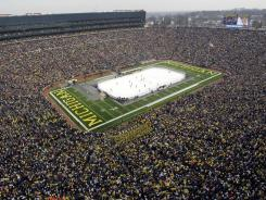 Overall view of Michigan Stadium during the first period of the Big Chill hockey game between Michigan and Michigan State on Saturday, December 11, 2010 in Ann Arbor, Mich.