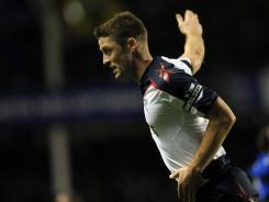 Gary Cahill celebrates scoring the winning goal for Bolton during the English Premier League football match against Everton at Goodison Park, Liverpool, England on Jan. 4.