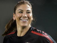 Goalkeeper Hope Solo warms up against Canada on Sept. 22, 2011 at Jeld-Wen Field in Portland, Ore.