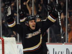 Anaheim Ducks defenseman Francois Beauchemin celebrates after he scores a goal against the Phoenix Coyotes on Wednesday.