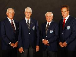 From left, Dale Inman, Glen Wood, Cale Yarborough and Darrell Waltrip, the surviving members of NASCAR's 2012 Hall of Fame class. Richie Evans was inducted posthumously.